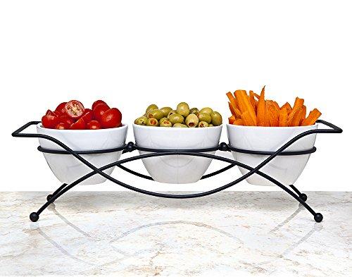 Elegant 4 Piece Relish Tray With White Ceramic Bowl