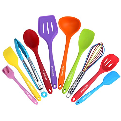 Silicone kitchen utensils colorful 10 pieces nonstick for Colorful kitchen tools