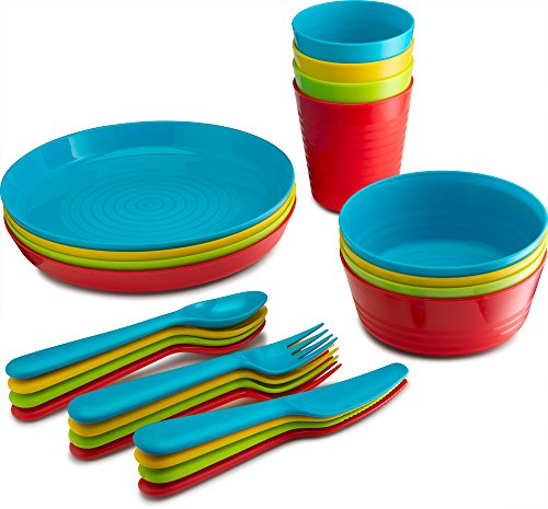 Plasti Home 24 Piece Complete Plastic Dinnerware Set