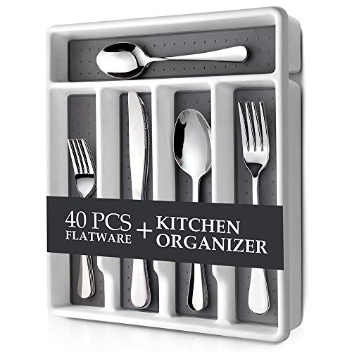 Raypard 40 Piece Silverware Set Flatware Set Mirror